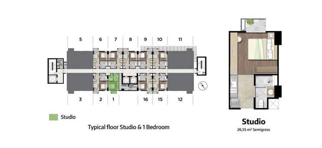 Residensial Kawana Golf Residence Tipe Studio di Bekasi