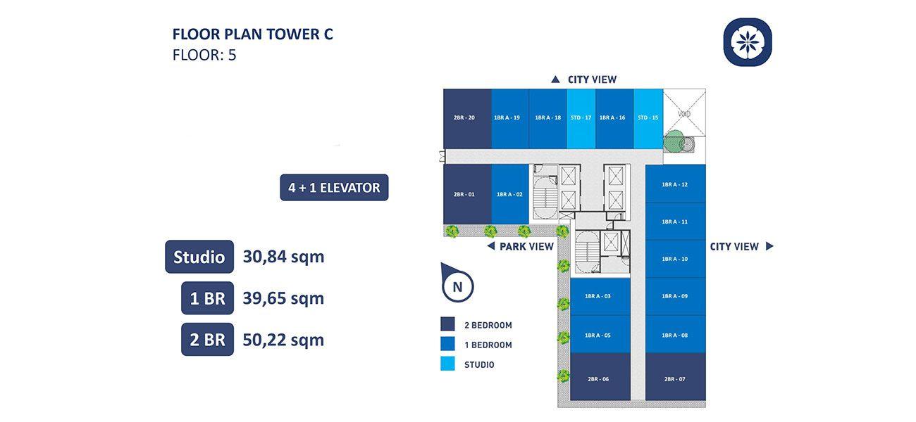 Residensial Vasanta Innopark Apartemen Tower Chihana Tipe 2 BR di Bekasi