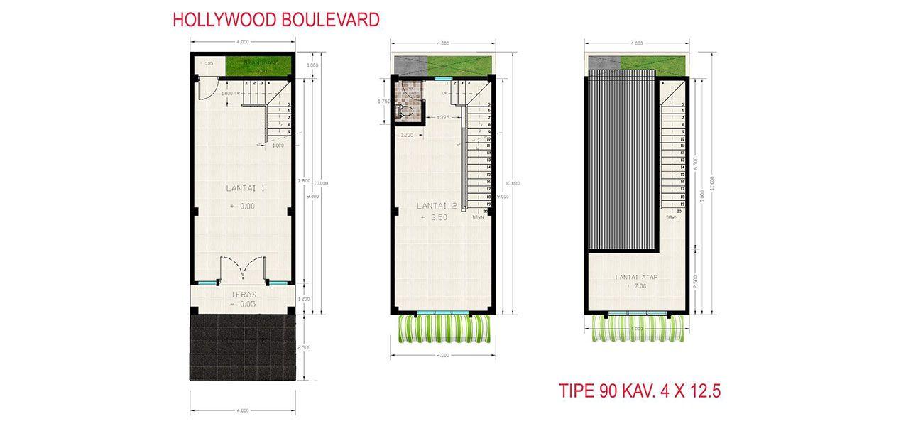 Komersial Ruko Hollywood Boulevard Tipe 90 di Bekasi
