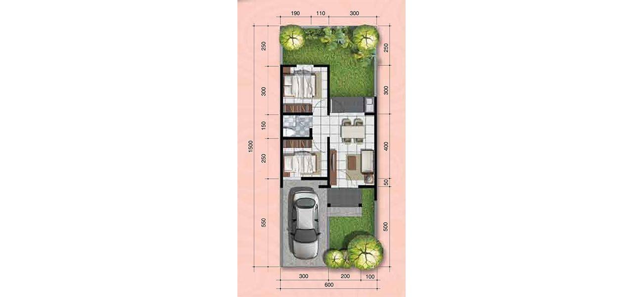 Residensial + Komersial Citra Indah Cluster Bukit Magnolia Tipe 38 di Bogor
