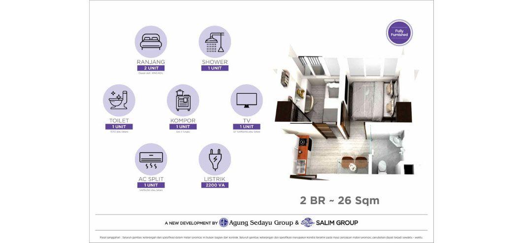 Residensial Osaka Riverview Tipe 2 Bedroom di Jakarta Utara