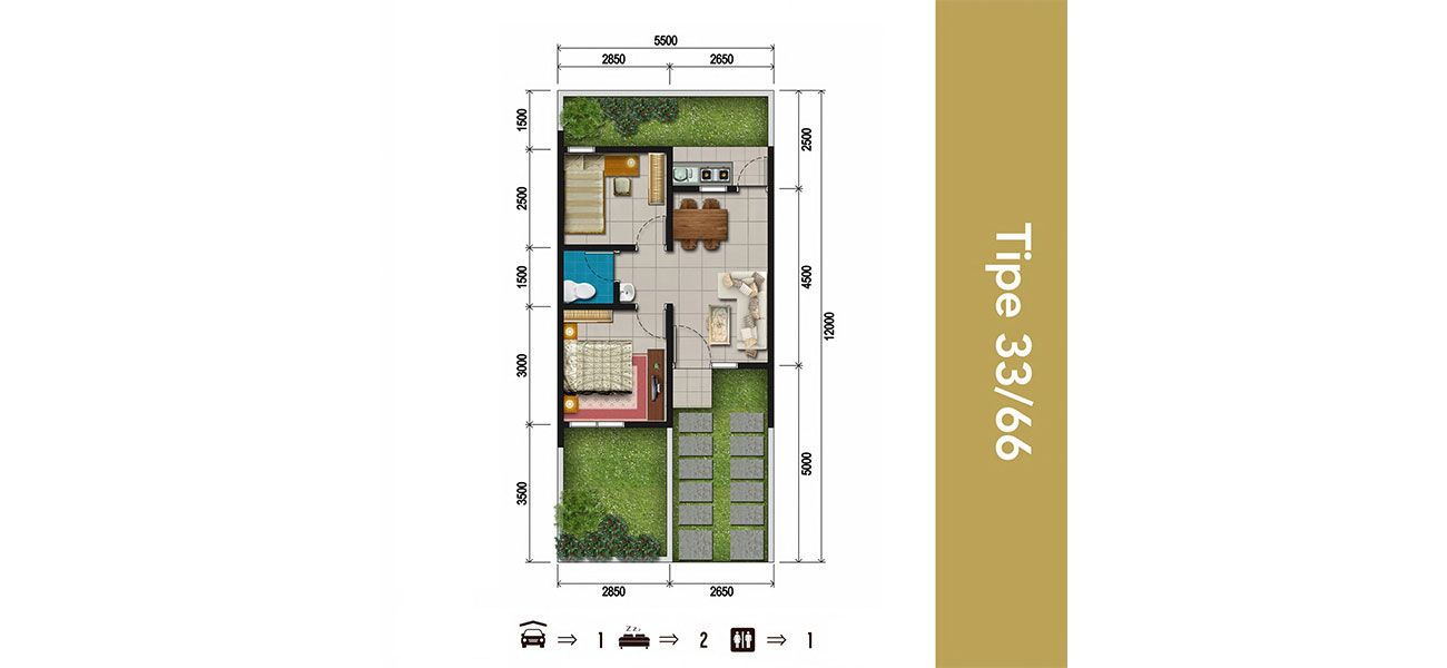 Residensial & Komersial Bali Resort Bogor Tipe 33/66 di Bogor