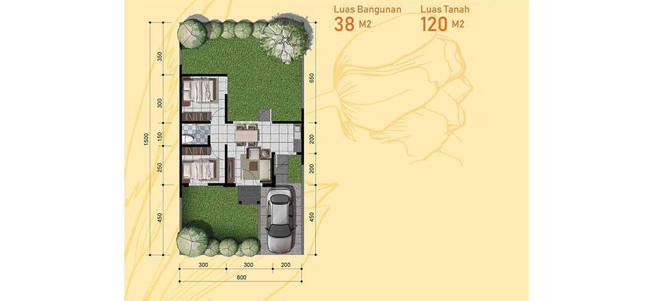 Residensial + Komersial Citra Indah Cluster Bukit Tulip Tipe 38 di Bogor