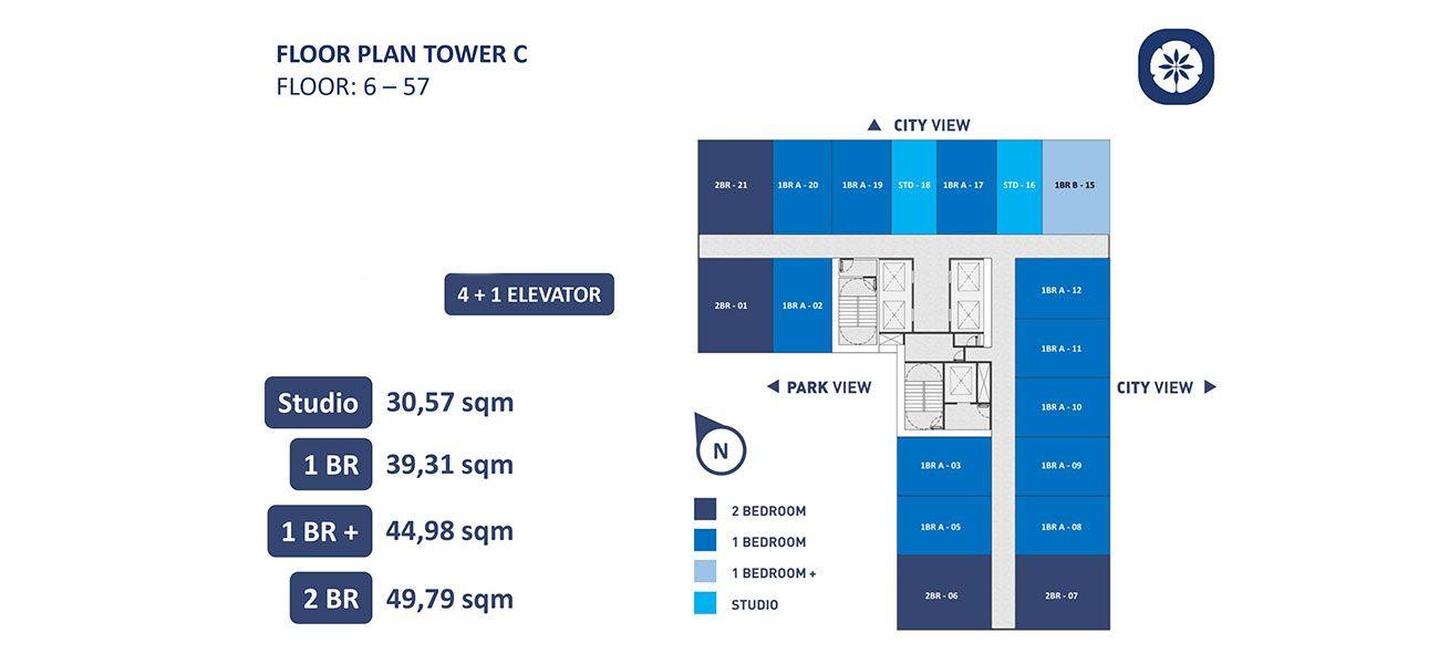 Residensial Vasanta Innopark Apartemen Tower Chihana Tipe 1 BR di Bekasi