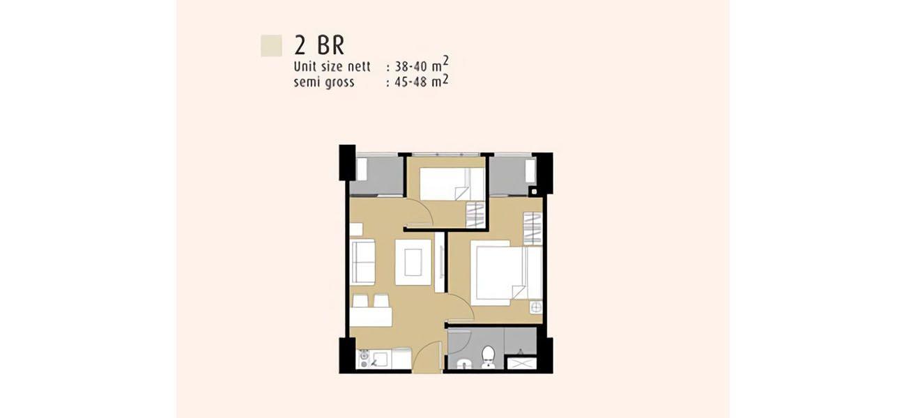 Residensial Serpong M-Town Residence Tipe 2 BR di Tangerang