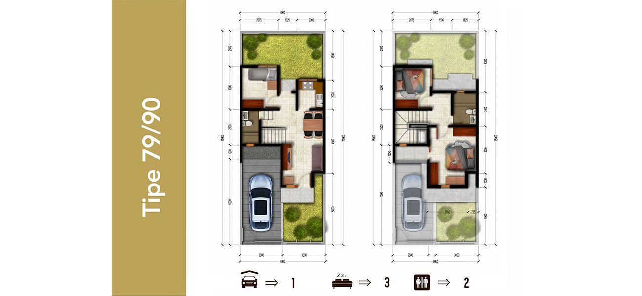 Residensial & Komersial Bali Resort Bogor Tipe 79/90 di Bogor