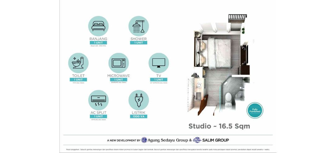 Residensial Osaka Riverview Tipe Studio di Jakarta Utara