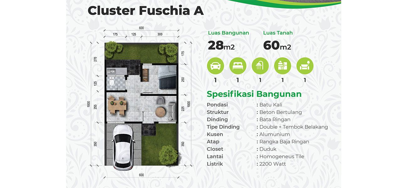 Residensial The Leaf Residence – Cluster Fuchia Tipe A  di Bogor