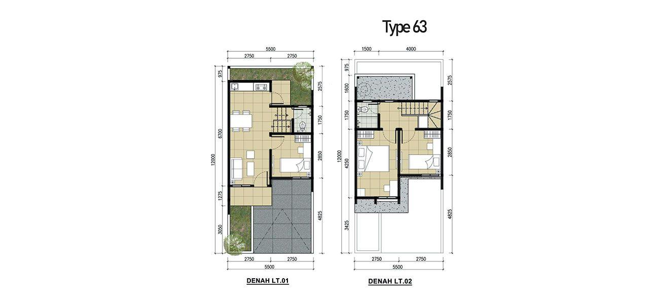 Residensial Kota Sutera – Cluster Albizia Tipe 63  di Tangerang