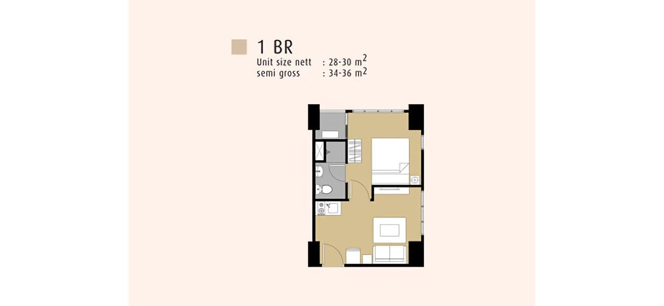 Residensial Serpong M-Town Residence Tipe1 BR di Tangerang