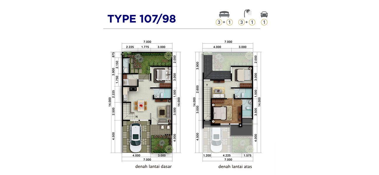 Residensial & Komersial Cluster Bellwood Tipe 107 di Bogor