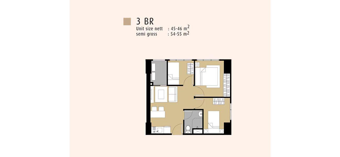 Residensial Serpong M-Town Residence Tipe 3 BR di Tangerang