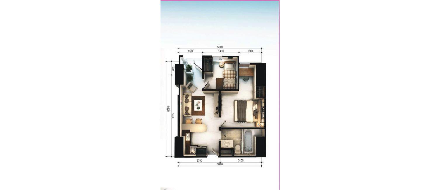 Residensial Vasanta Innopark Apartemen Tipe 2 Bedroom di Bekasi